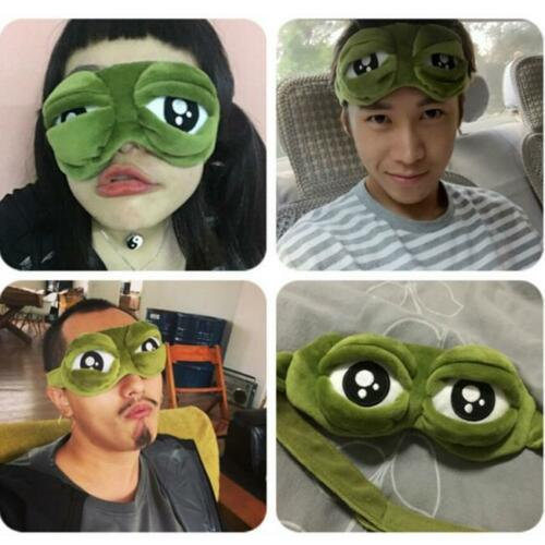 In Cute Eyes Mask Cover Plush The Sad 3d Frog Eye Mask Cover Sleeping Rest Travel Sleep Anime Funny Gift Máscara De Ojos Superior Quality