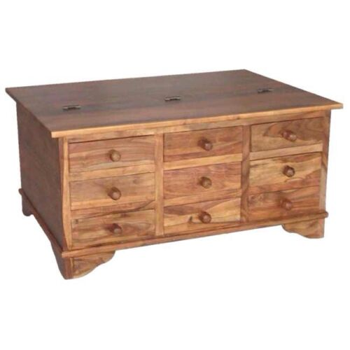 Coffee Table With Drawers: Solid Sheesham Wood 9 Drawer Coffee Table Trunk Storage Unit