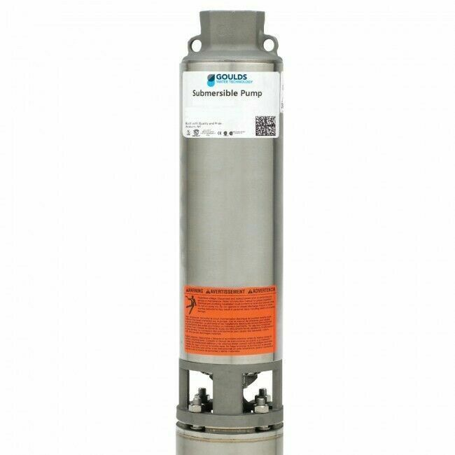 """Goulds 25GS10412C 4"""" 3 Wire w/ Control Box 25GPM 1HP 230V, S.S. Submersible Pump"""