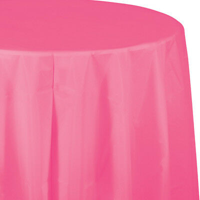 Candy Pink Plastic Round Tablecloth 82