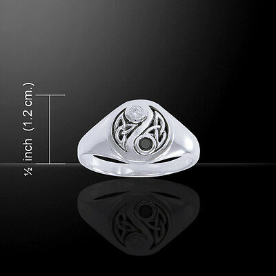 Gemstone Celtic knot Yin Yang Sterling Silver Ring by peter stone unique as you