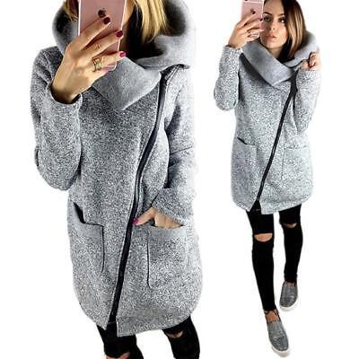 Plus Size Womens Ladies Winter Casual Hoodies Jacket Coat Long Zipper Outwear FW