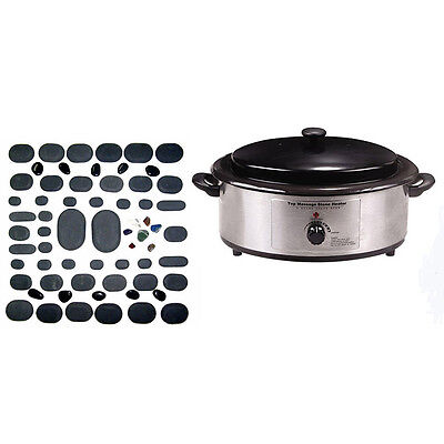 Massage Hot Stone Kit 60 piece with 6 Quart Warmer