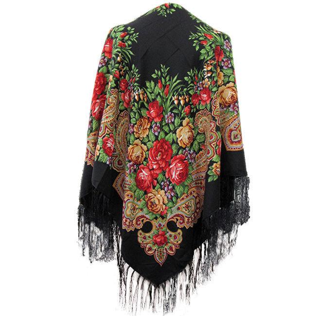 Schal Tracht Tuch Viskose nach traditionelle russische Art 90 x 90 cm