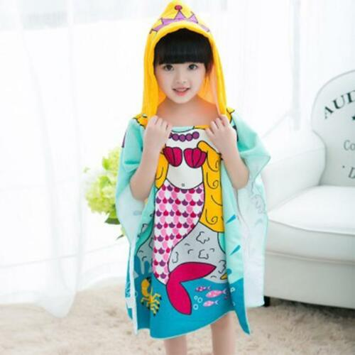 Hooded Poncho Kid Character Towel Beach Pool Fun Hoodie Girl Boy Mermaid Shark S
