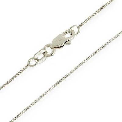 10K White Gold Solid Box Chain Necklace Lobster Claw Clasp .55mm wide 14 - 24
