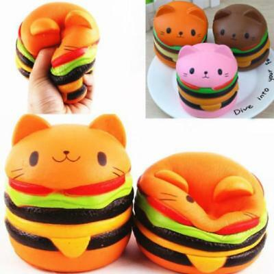 Scented Squishies Hamburger Cat Slow Rising Cartoon Bread Toy Stress Relief J