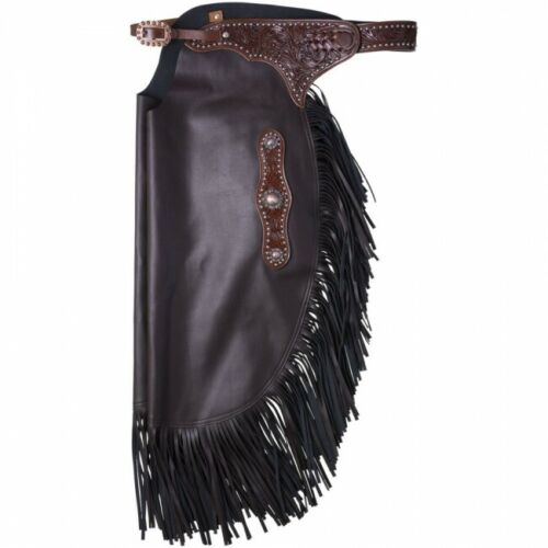 M brn faux leather Western chinks/chaps w/tooled accents, copper conchos, spots