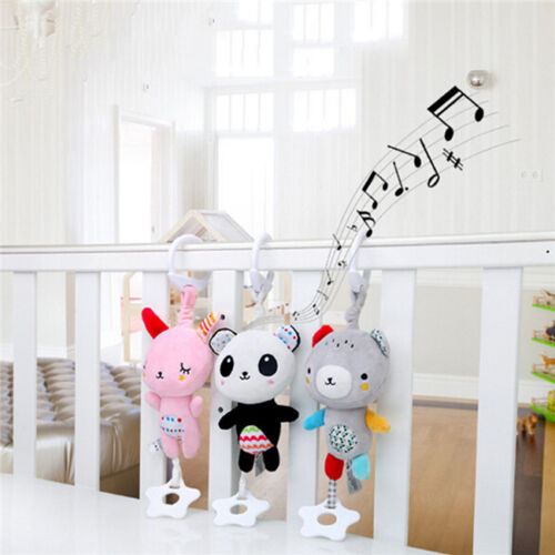 Baby Plush Animal Toy Bed Stroller Hanging Ring Bell Toys So