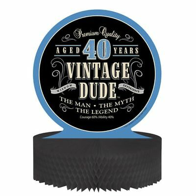 Vintage Dude 40th Birthday Honeycomb Centerpiece The Man Myth Legend Decoration - Vintage 40th Birthday Decorations