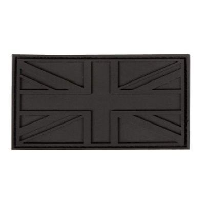 UNION JACK BLACK RUBBER PATCH BADGE VELCRO BACKING GB FLAG