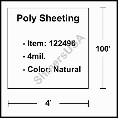 4 mil Poly Sheeting 4'x100' Natural  (122496)