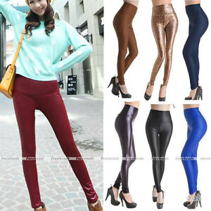 Women-Sexy-High-Waist-Leather-Look-Stretch-Leggings-S-L-12-Colors