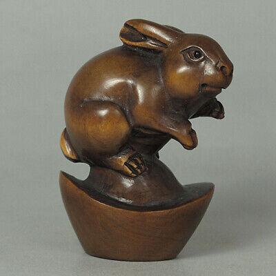 Japanese 1940's Netsuke Boxwood Wood Rabbit Figurine Carving WN141