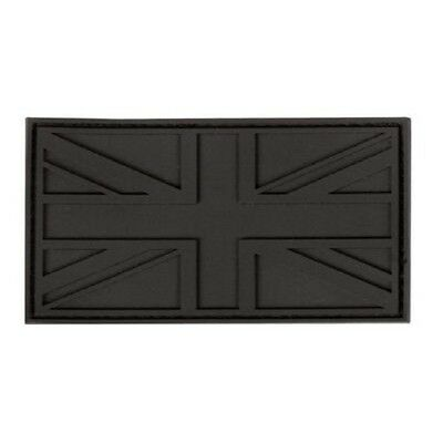 UNION JACK BLACK RUBBER PATCH TACTICAL BADGE VELCRO BACKING UK Flag cap rucksack