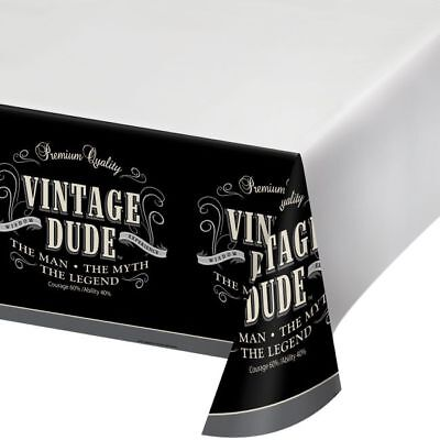 Vintage Dude Plastic Banquet Tablecloth The Man Myth Legend Birthday Party Decor