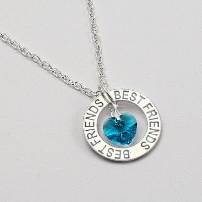Best Friends Necklace with Birthstone Heart.Girls, Ladies Sizes for Best