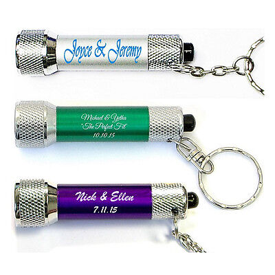 100 Custom Keychain Flashlights, Bulk Promotional Product, Wedding Party Favors