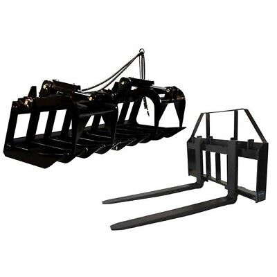 Titan Attachments 60 Root Grapple Bucket And 42 Hd Pallet Forks Package