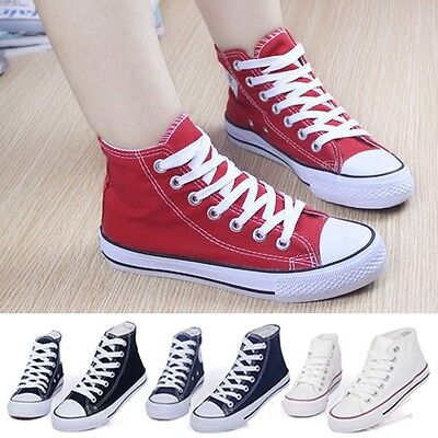 Womens Mens High-top Lace Up Canvas Casual Flat Sneakers Plimsoll Causal Shoes