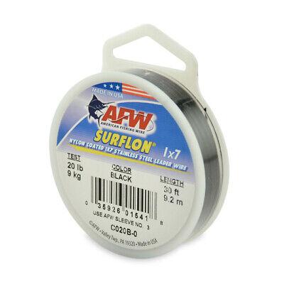 45 Lb Test 23505 AFW Surflon Black Coated Leader Wire 30 Ft