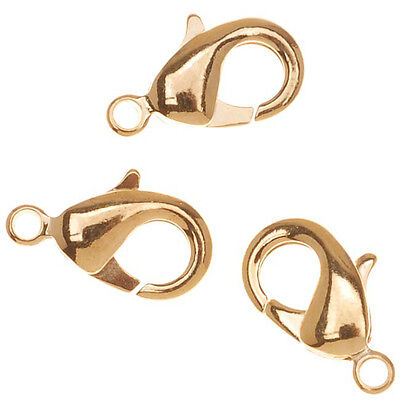 22K Gold Plated Curved Lobster Clasps 12mm (6)