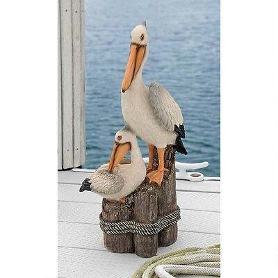 (Pelican Statue Two Birds On Perch Yard Garden Art Decor Ocean Lawn Ornament )