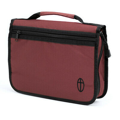 Extra Large Bible Cover, Burgundy Canvas Bag Case with Embroidered Cross Design - Bible Bag