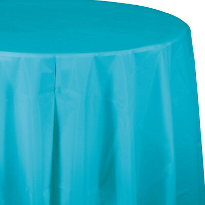 Bermuda Blue Plastic Round Tablecloth 82
