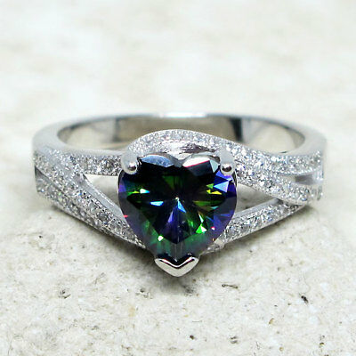 AMAZING 2 CT HEART MYSTIC TOPAZ 925 STERLING SILVER RING SIZE 5-10 (Mystic Topaz Heart)