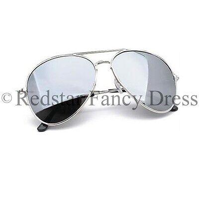 Silber Spiegeleffekt Pilotenbrille Polizei Kostüm Pc-Zubehör Polizist - Pc Polizei Kostüm