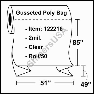 2 Mil Gusseted Poly Plastic Bag 51x49x85 Clear Fda Approved Roll50 122216