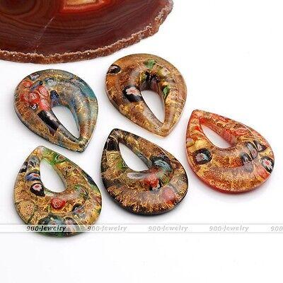 Murano Lampwork Glass Oval Teardrop Golden Flower Pendant Fit Necklace Chain (Teardrop Glass Flower Pendant)
