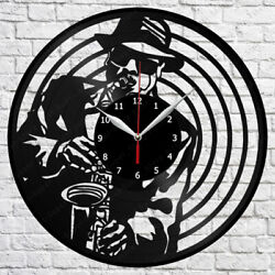 Saxophone Vinyl Record Wall Clock Art Decor Original Gift 12 30cm 1783