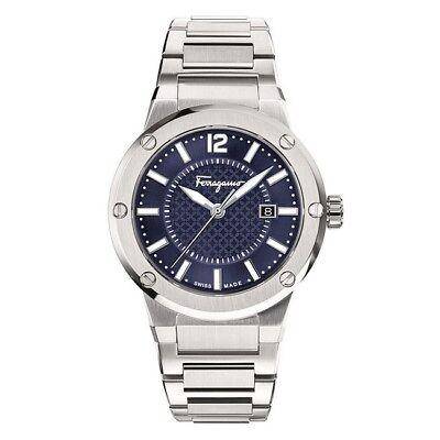 New Salvatore Ferragamo F 80 Blue Dial Stainless Steel Mens Watch Fif030015