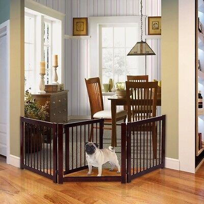 Wood Pet Gate Free Standing Configurable Large Fence Dog Wide Indoor Wooden Wall