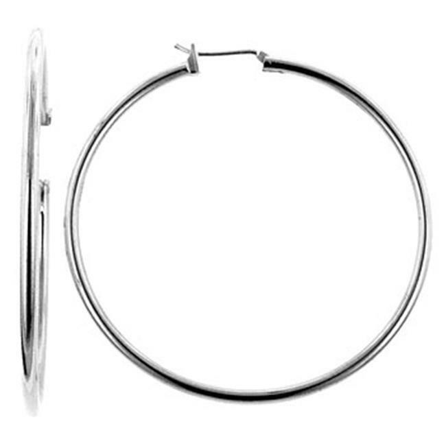 Kate Bissett E01621X-V00 Large Silvertone Hoop Earrings