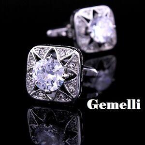 stupendo-Bianco-cristallo-GEMELLI-CAMICIA-UOMO-el-SWAROVSKI-CERIMONIA-matrimonio