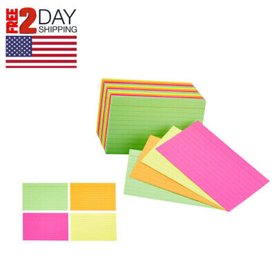 Assorted Neon Ruled Index Cards 300 Count Colored Filing 3 By 5 Inches Card