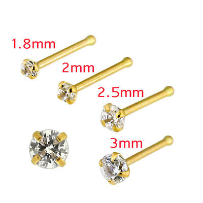 20 Gauge 14K Solid Yellow Gold Cubic Zirconia Prong Setting End Bone Nose Stud (14k Yellow Jewelry Set)
