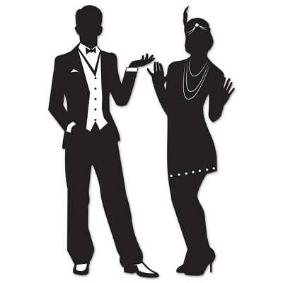Great Roaring 1920's Silhouettes 2 Pack 20s Flapper Girl and Man Wall Decoration