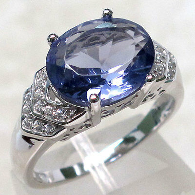 EXQUISITE 5 CT TANZANITE 925 STERLING SILVER MICRO PAVE RING SIZE 5-10 Pave Tanzanite Ring
