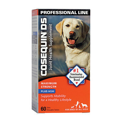 Dog COSEQUIN DS Joint Bone Supplement Glucosamine MSM Max Strength 60 Chew Tabs