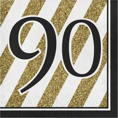 Black and Gold 90th Birthday Lunch Napkins 90 Birthday Party Decoration - Black And Gold Napkins