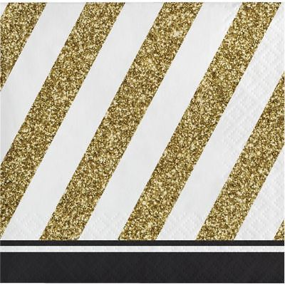 Black and Gold Beverage Napkins Birthday Party Decorations - Black And Gold Napkins