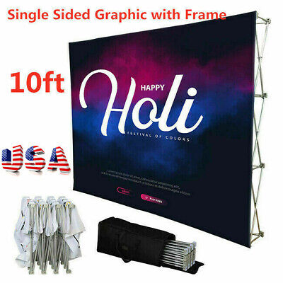 10ft Tension Fabric Pop Up Display Trade Show Wall Single Sided Graphic - Usa