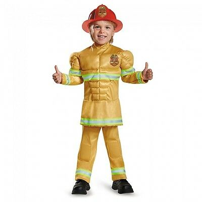 Boys Fireman Costume Muscle Firefighter Fire Man Fighter Toddler Child Kids NEW - Boy Fireman Costume