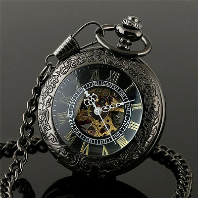 Kyпить New Steampunk Skeleton Mechanical Black Open Face Retro Pendant Pocket Watch на еВаy.соm