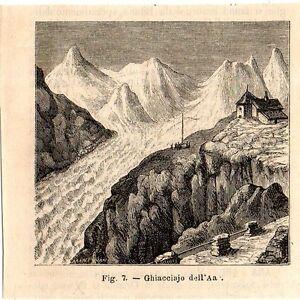 Stampa-antica-ghiacciaio-dell-Aar-Berna-Svizzera-1889-Old-Print-Switzerland