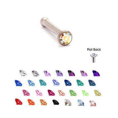 Surgical Steel Nose Bone Stud Ring 1.5mm Micro Gem 18G Gem Micro Nose Bone